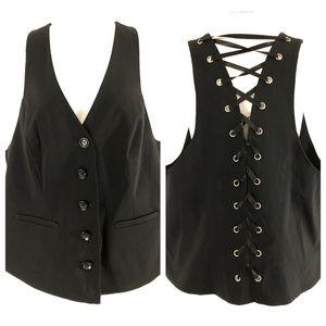Lane Bryant Womens Vest Lace Up Button Front Black